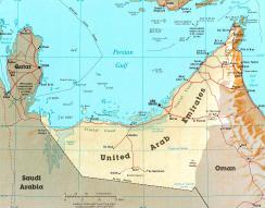 Cartina politica degli Emirati Arabi Uniti