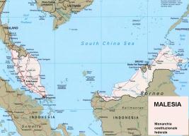 Cartina politica della Malesia
