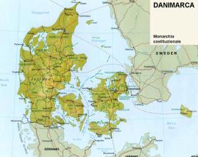 Cartina politica della Danimarca