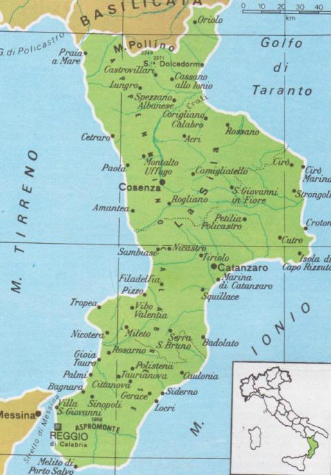 Cartina Geografica Della Calabria Fisica.Cartine Geografiche Della Calabria Italia