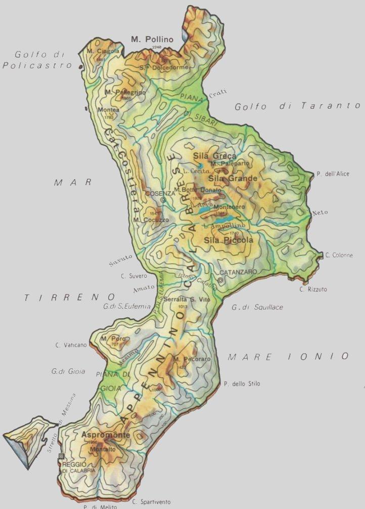 Cartina Calabria Immagini.Cartine Geografiche Della Calabria Italia