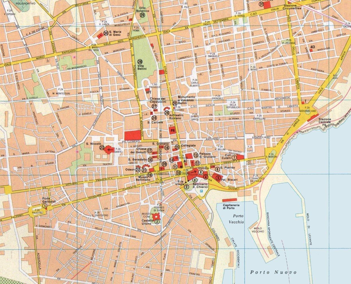 Cartina Italia Catania.Mappa Del Centro Di Catania Sicilia Italia