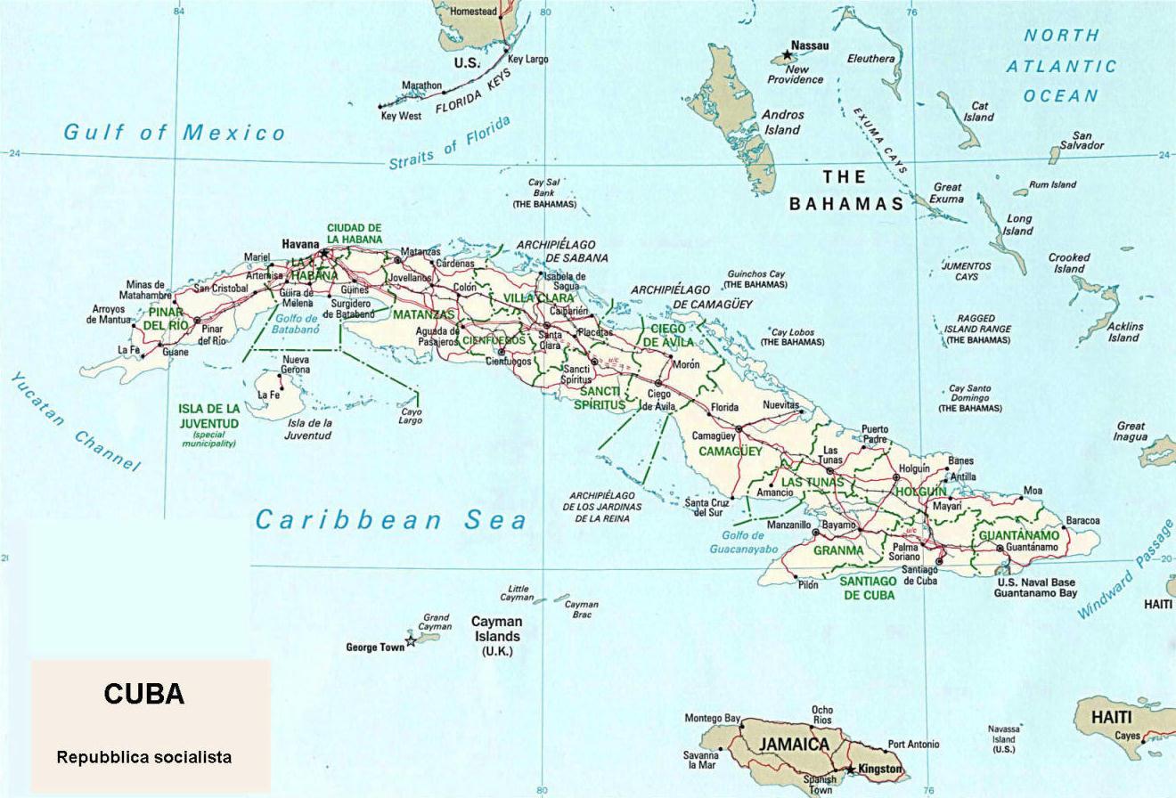 Cartina Muta Cuba.Cartina Geografica Politica Di Cuba