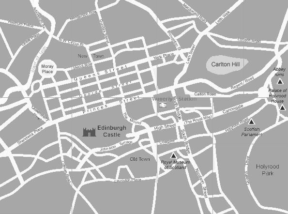 Mappa del centro di edimburgo scozia in bianco e nero for Mappa mondo bianco e nero