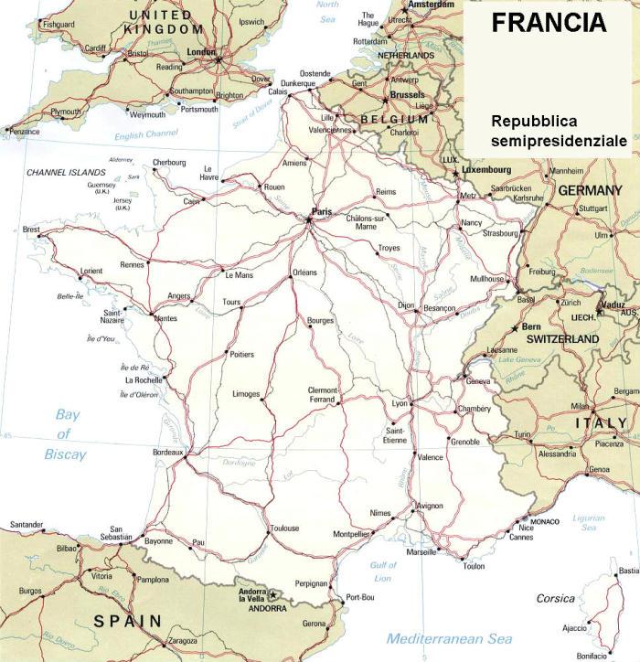 Cartina Della Francia Fisica.Cartina Geografica Politica Della Francia
