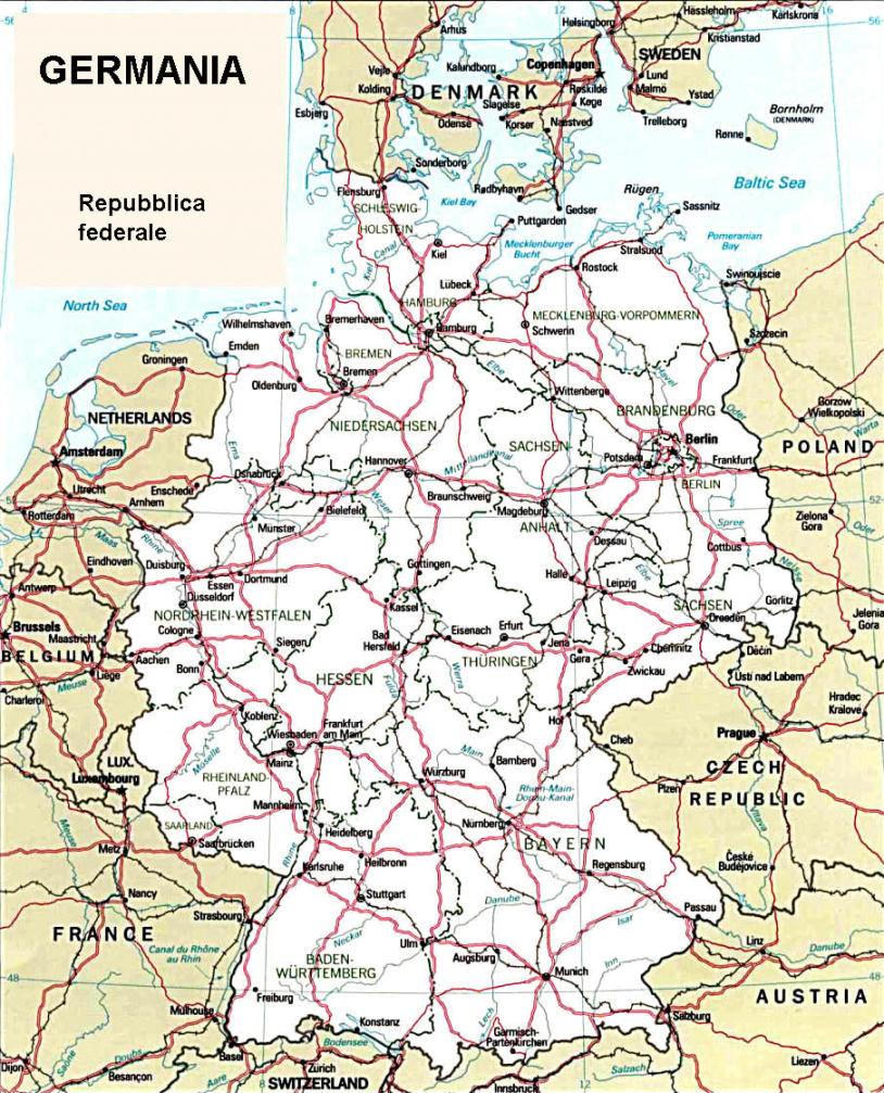 Cartina Geografica Germania Politica.Cartina Geografica Politica Della Germania