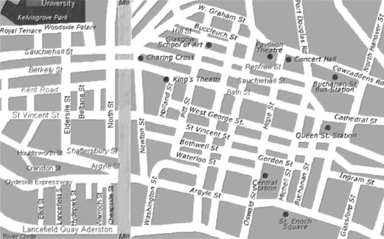 Mappa del centro di glasgow scozia in bianco e nero for Mappa mondo bianco e nero