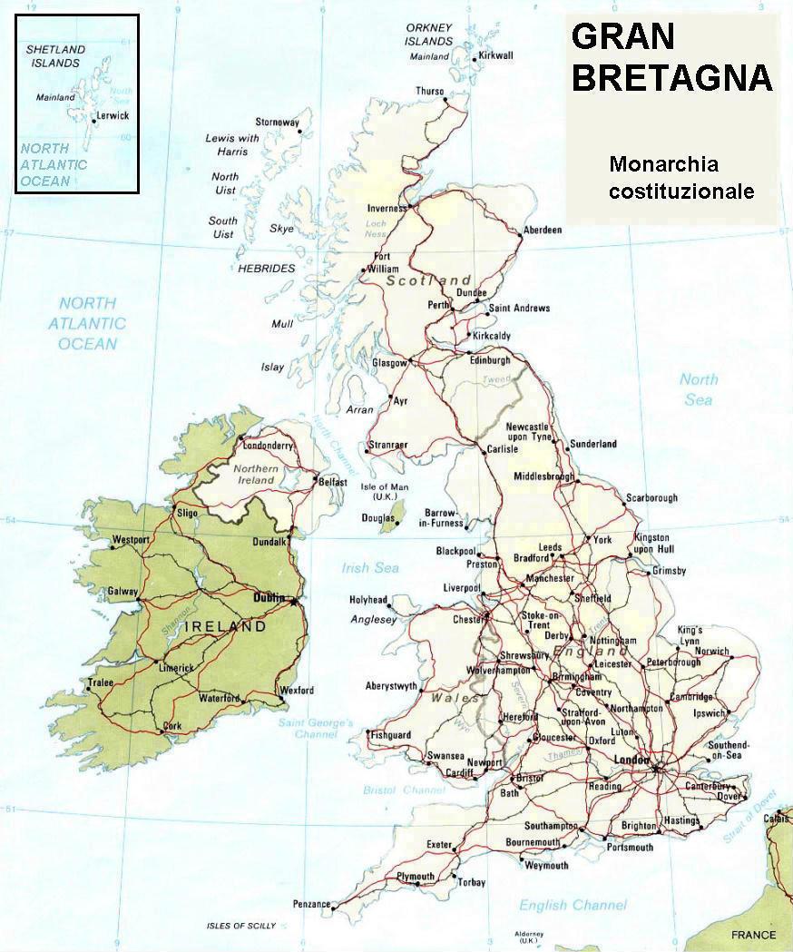 Cartina Geografica Fisica Della Gran Bretagna.Cartina Geografica Politica Della Gran Bretagna