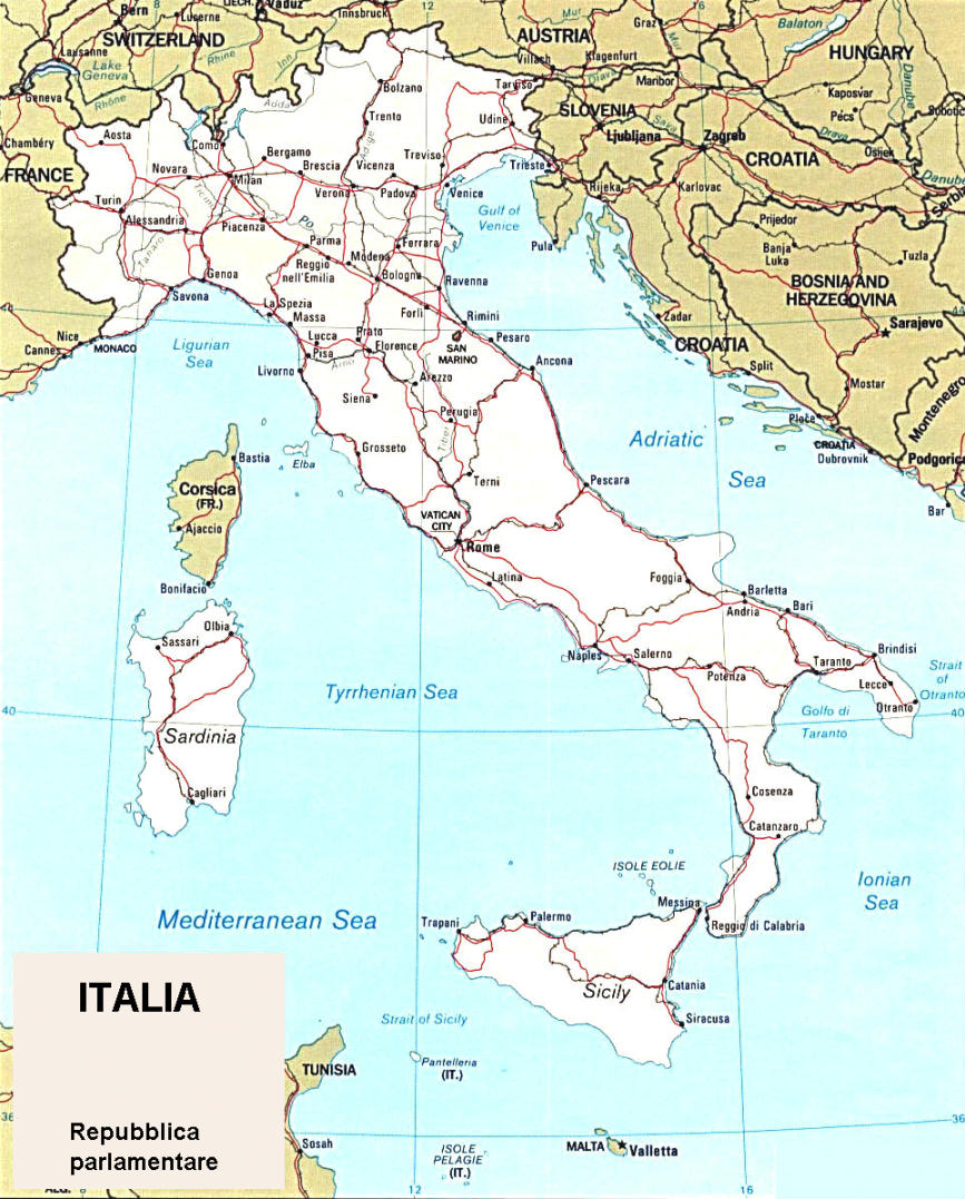 Italia In Cartina Geografica.Cartina Geografica Politica Dell Italia