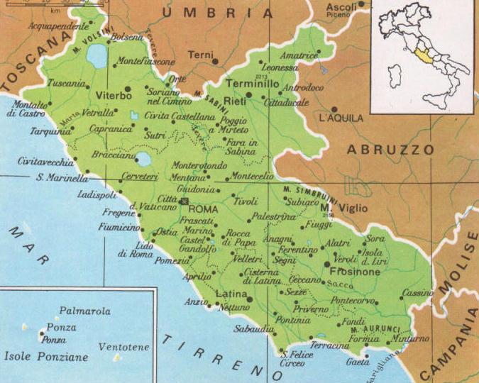 Cartina Geografica Fisica Lazio.Cartine Geografiche Del Lazio Italia