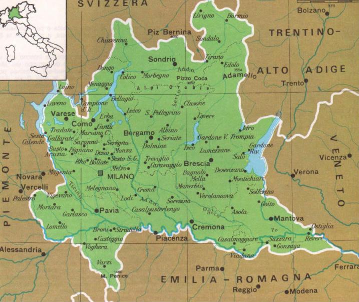 Cartina Lombardia.Cartine Geografiche Della Lombardia Italia