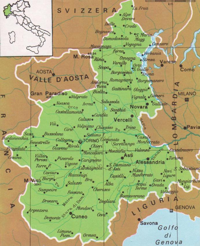 Regione Piemonte Cartina Fisica.Cartine Geografiche Del Piemonte Italia