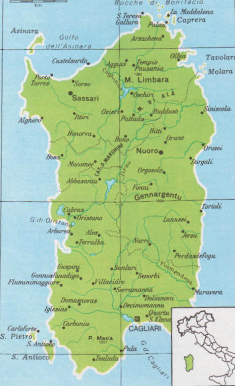 Palau Sardegna Cartina.Cartina Geografica Politica Della Sardegna Italia