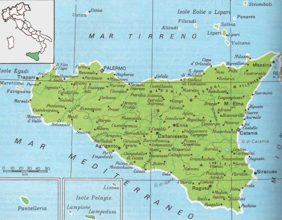 Cartina Sicilia Immagini.Cartine Geografiche Della Sicilia Italia