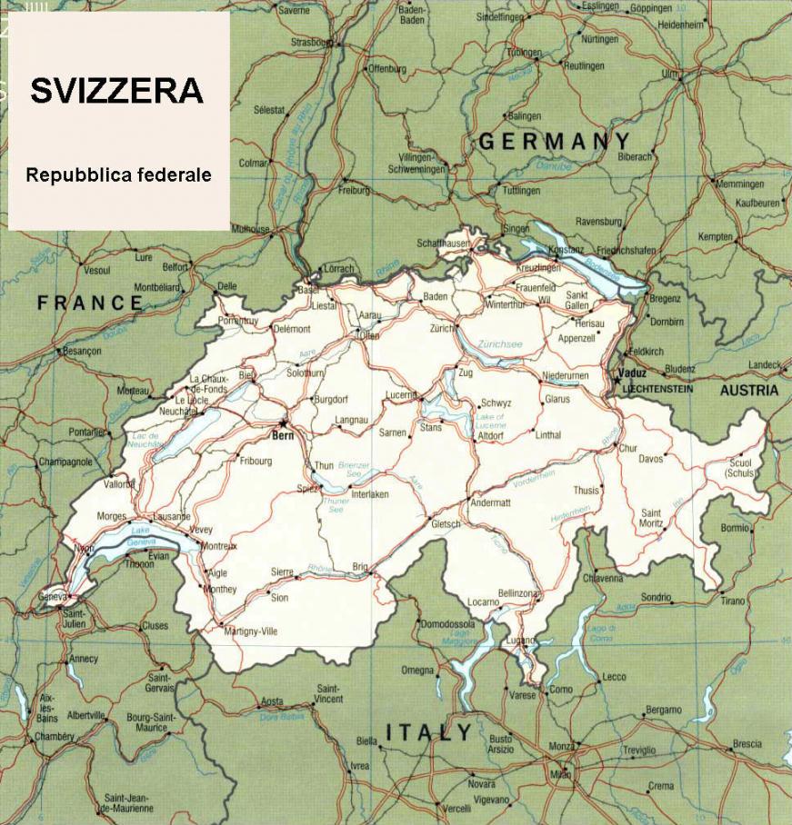 Svizzera Cartina.Cartina Geografica Politica Della Svizzera