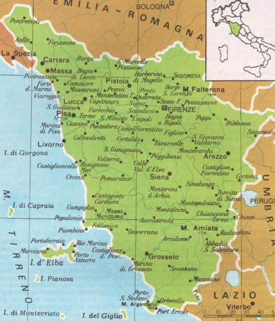 Cartina Stradale Toscana Dettagliata.Cartine Geografiche Della Toscana Italia
