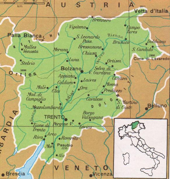 Cartine Geografiche Del Trentino Alto Adige Italia