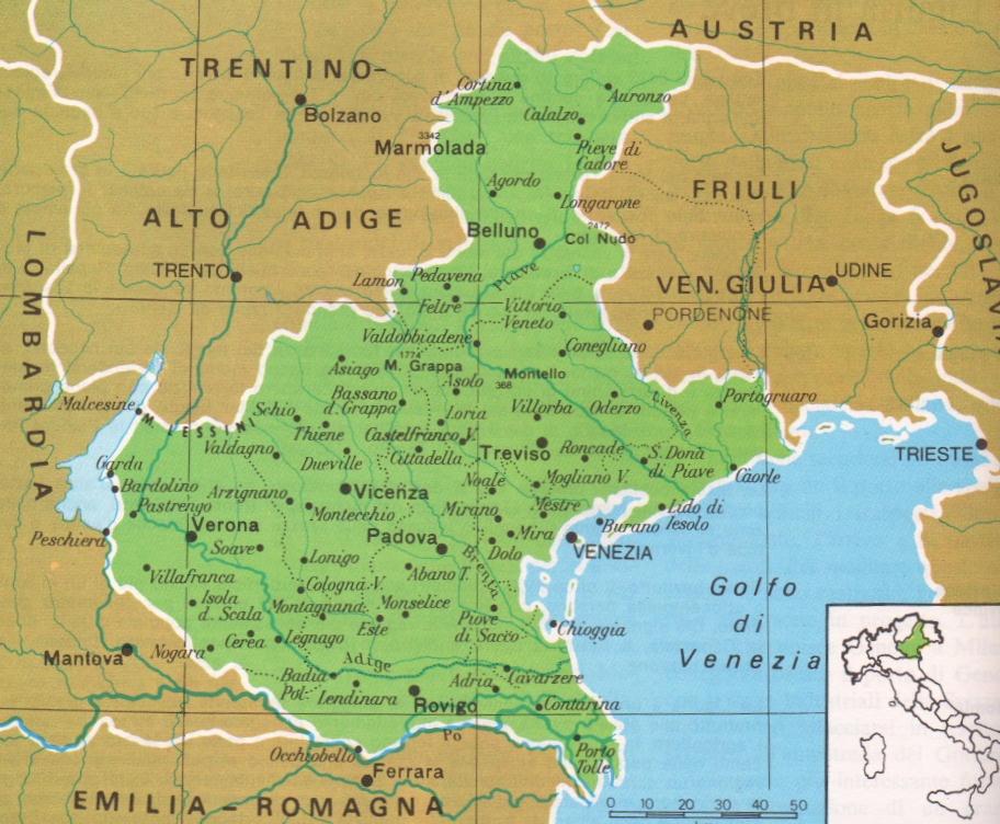 Cartina Dettagliata Veneto.Cartine Geografiche Del Veneto Italia