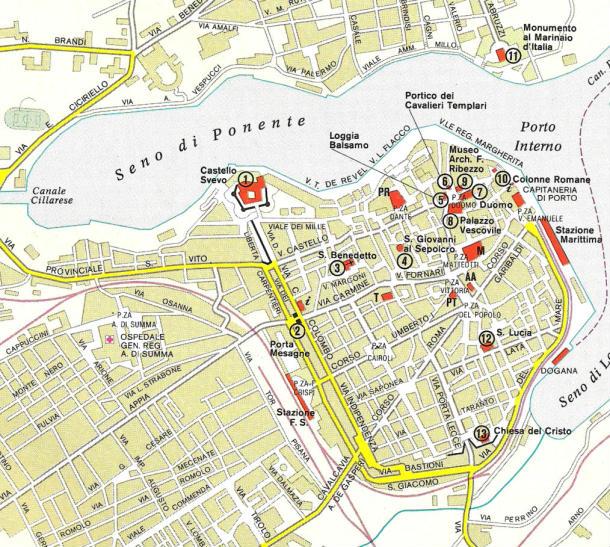 Cartina Italia Brindisi.Mappa Del Centro Di Brindisi Puglia Italia