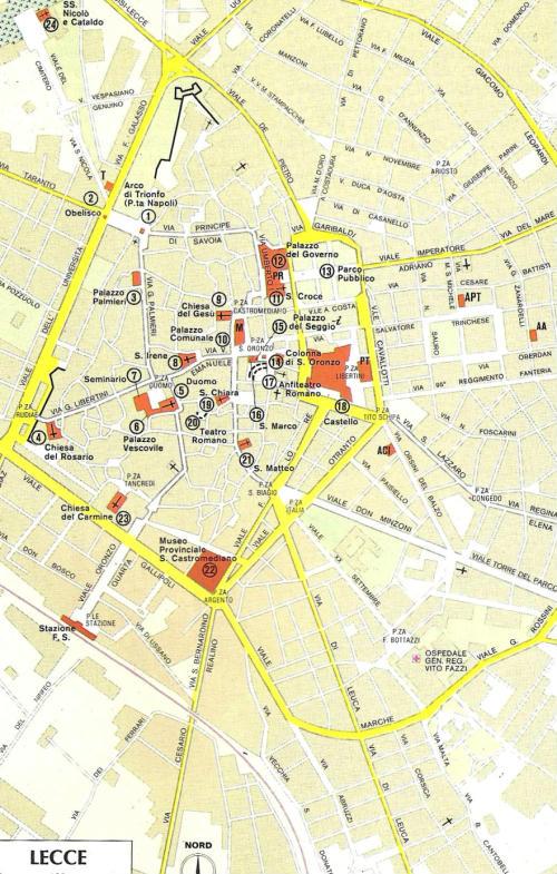 Lecce Puglia Cartina.Mappa Del Centro Di Lecce Puglia Italia