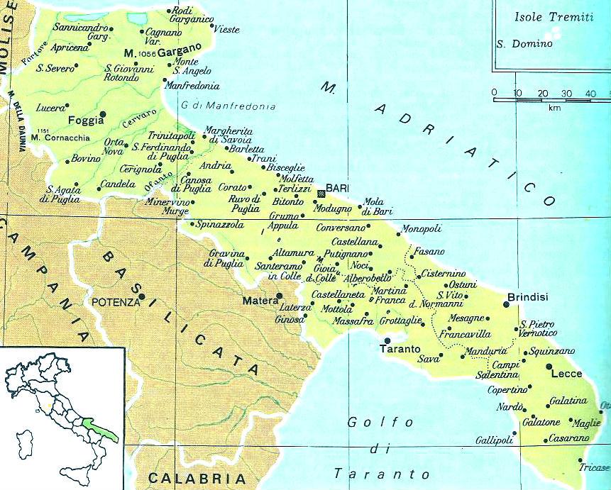 Cartina Giografica Della Puglia.Cartine Geografiche Della Puglia Italia