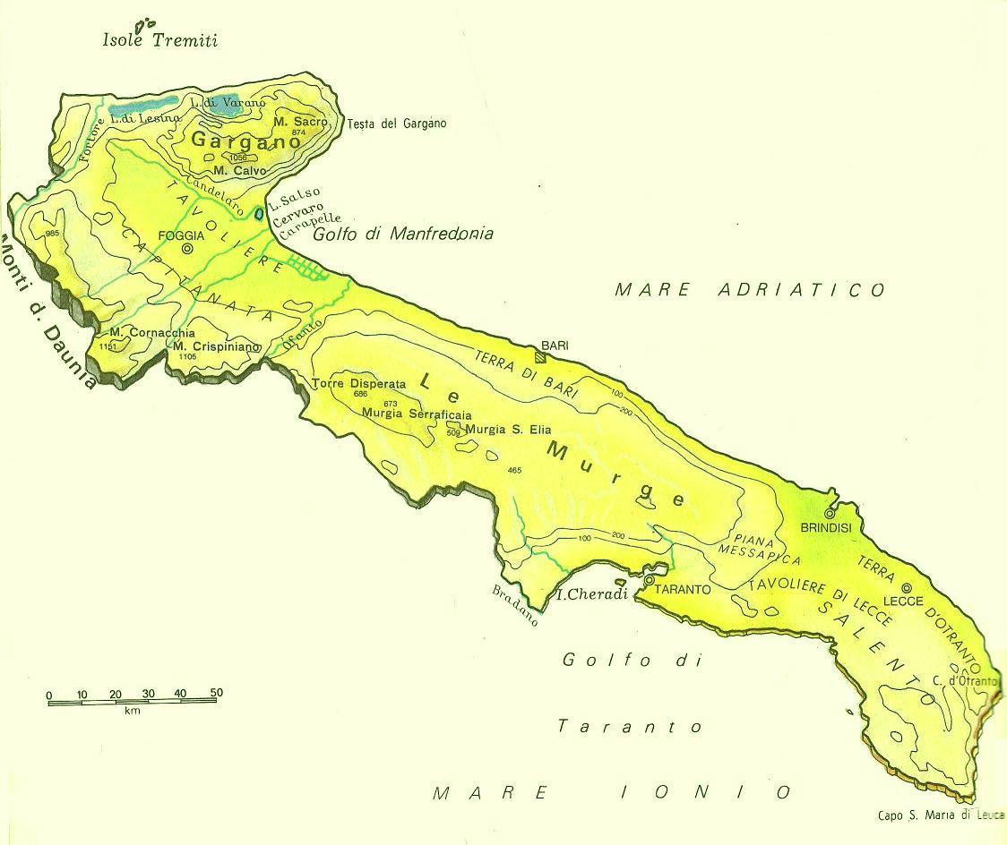 Cartina Italia Puglia.Cartine Geografiche Della Puglia Italia