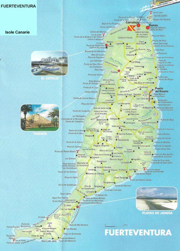 Cartina Spagna Fuerteventura.Cartina Di Fuerteventura Isole Canarie Spagna