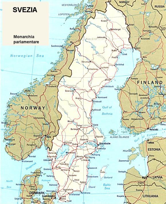 Cartina Della Svezia.Cartina Geografica Politica Della Svezia