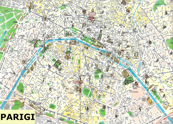 Cartina Citta Di Parigi.Mappa Del Centro Di Parigi Francia