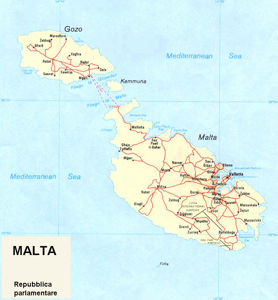Cartina Di Malta Dettagliata.Cartina Geografica Politica Di Malta
