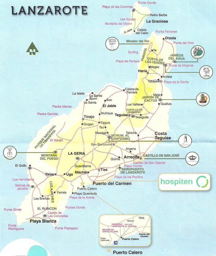 Canarie Cartina Geografica.Cartina Di Lanzarote Isole Canarie Spagna