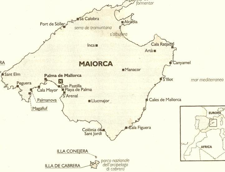 Cartina Spagna Isole Baleari.Cartina Di Maiorca Isole Baleari Spagna