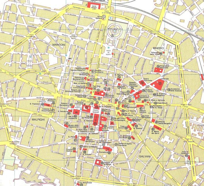 Mappa Bologna Cartina.Mappa Del Centro Di Bologna Emilia Romagna Italia