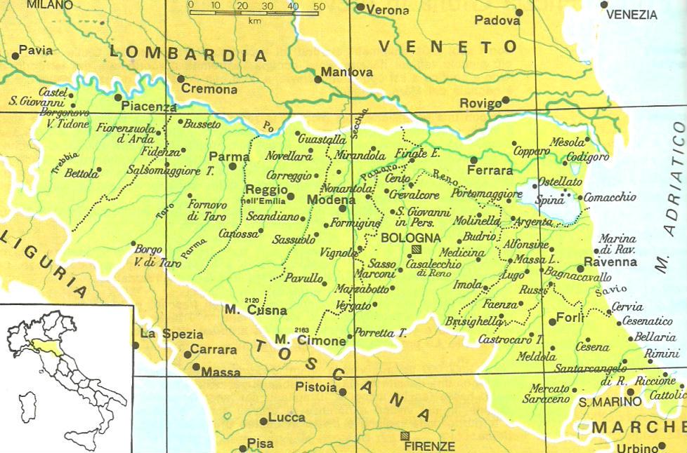 Cartina Della Emilia Romagna.Cartine Geografiche Dell Emilia Romagna Italia