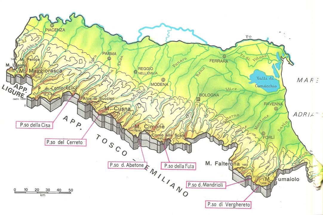 Cartina Italia Fisica Emilia Romagna.Cartine Geografiche Dell Emilia Romagna Italia