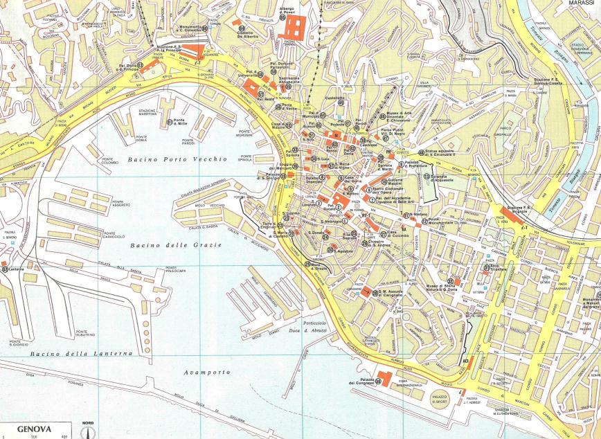 Genova Cartina.Mappa Del Centro Di Genova Liguria Italia