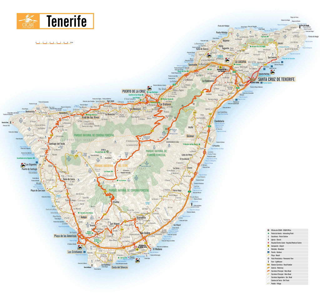 Isola Tenerife Cartina.Cartina Di Tenerife Isole Canarie Spagna