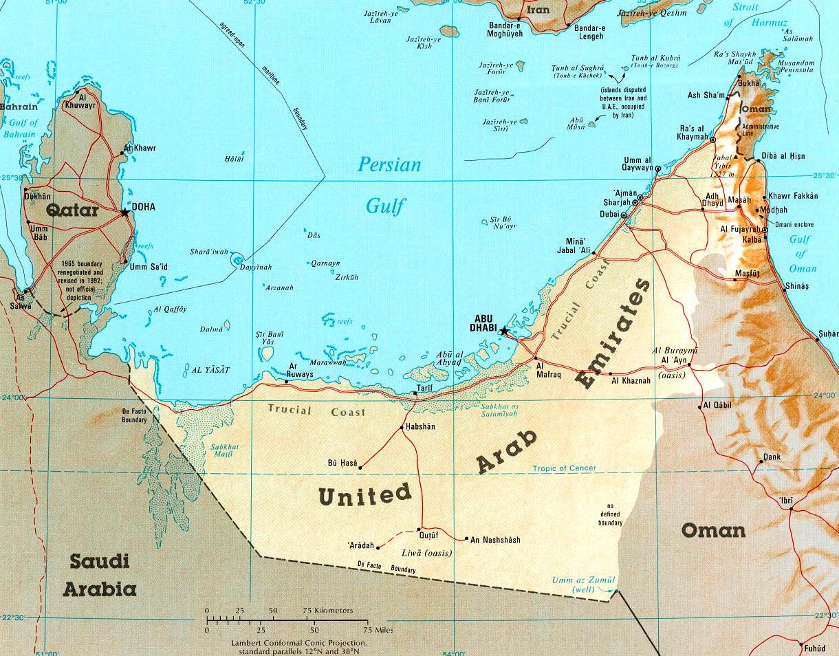 Cartina Geografica Dei Paesi Arabi.Cartina Geografica Politica Degli Emirati Arabi Uniti