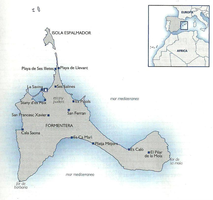 Cartina Geografica Spagna E Formentera.Cartina Di Formentera Isole Baleari Spagna