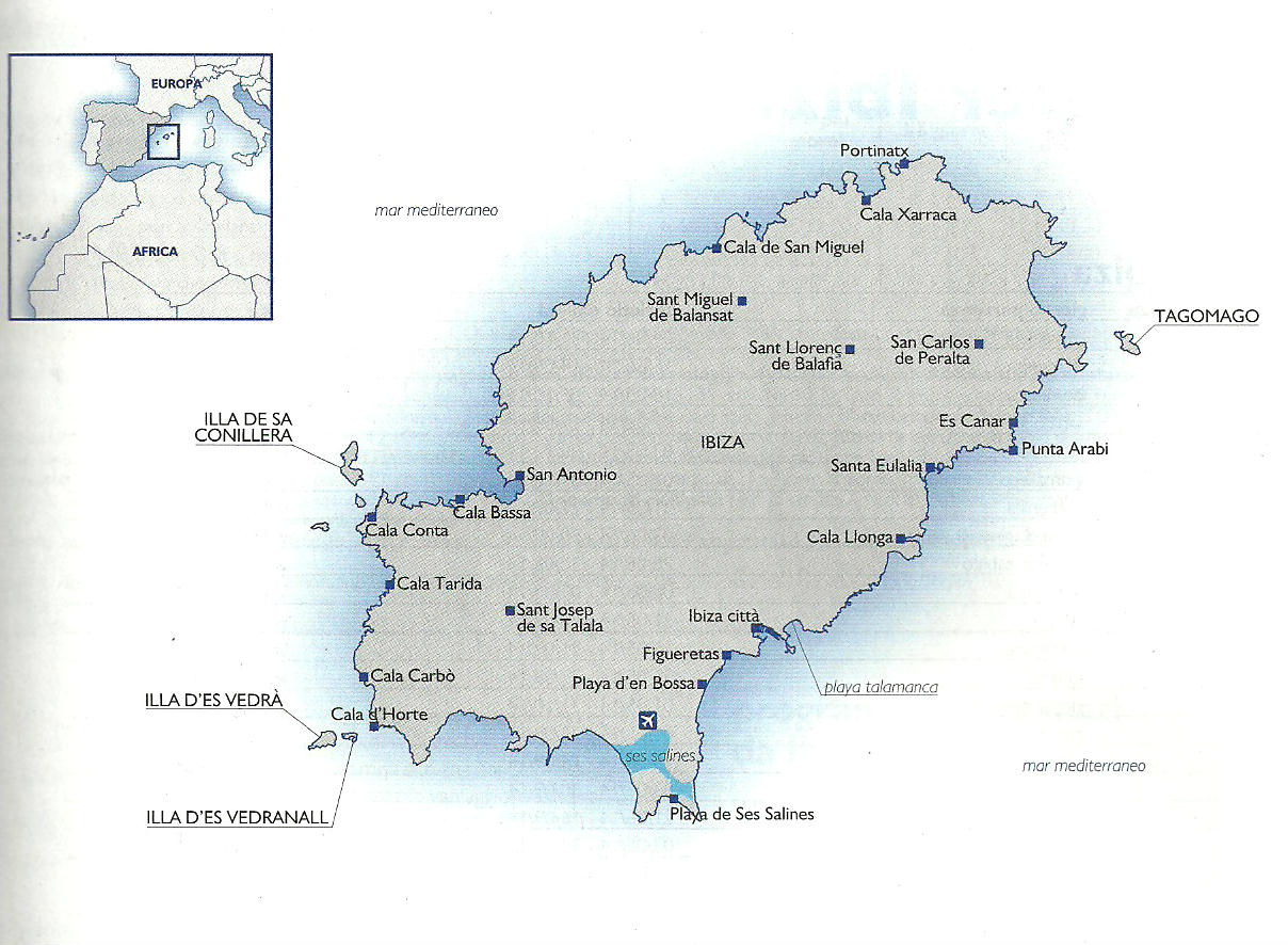 Cartina Spagna Baleari.Cartina Di Ibiza Isole Baleari Spagna