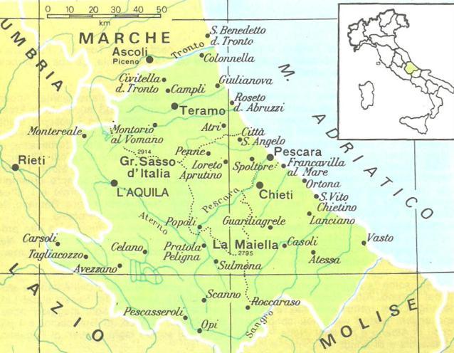 Cartina Fisica Dell Abruzzo.Cartine Geografiche Dell Abruzzo Italia