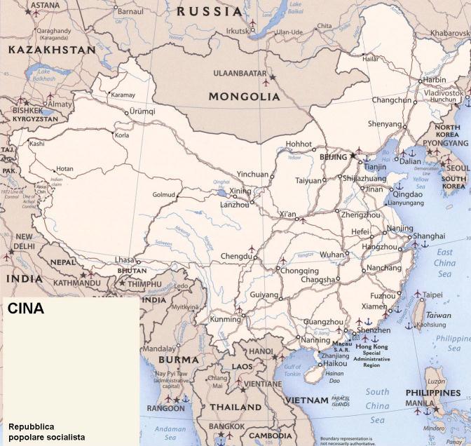 Cina Cartina Fisica Geografica.Cartina Geografica Politica Della Cina