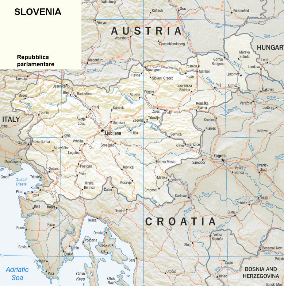 Cartina Stradale Della Slovenia.Cartina Geografica Politica Della Slovenia