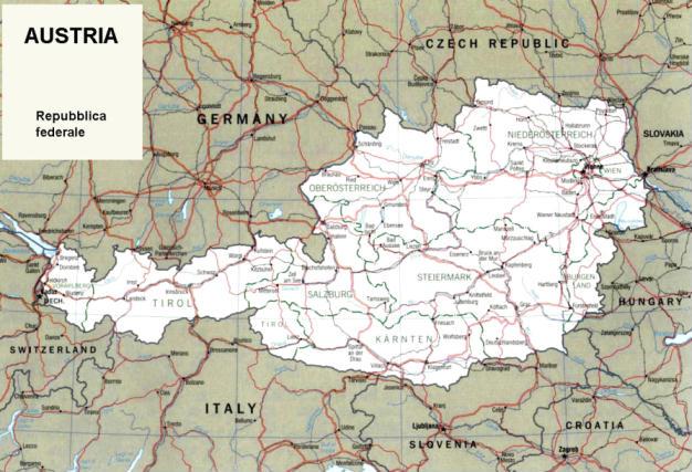 Cartina Geografica Dell Austria.Cartina Geografica Politica Dell Austria