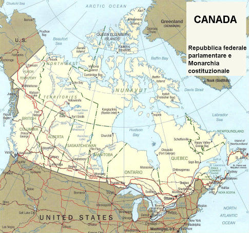 Cartina Canada Politica.Cartina Geografica Politica Del Canada