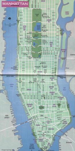 Mappa del centro di new york u s a for B b new york centro