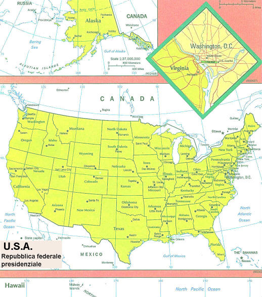 Usa Cartina Geografica Fisica.Cartina Geografica Politica Degli Stati Uniti D America U S A