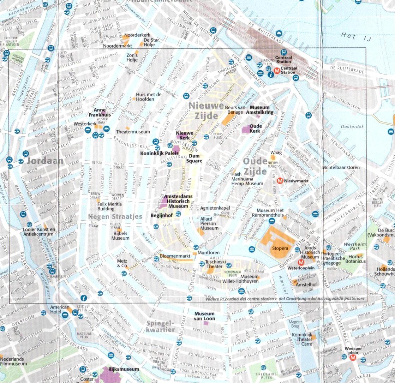 Mappa del centro di amsterdam paesi bassi for Centro di amsterdam