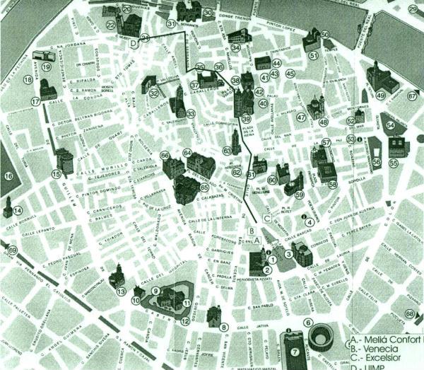 Cartina Valencia Spagna.Mappa Del Centro Di Valencia Spagna