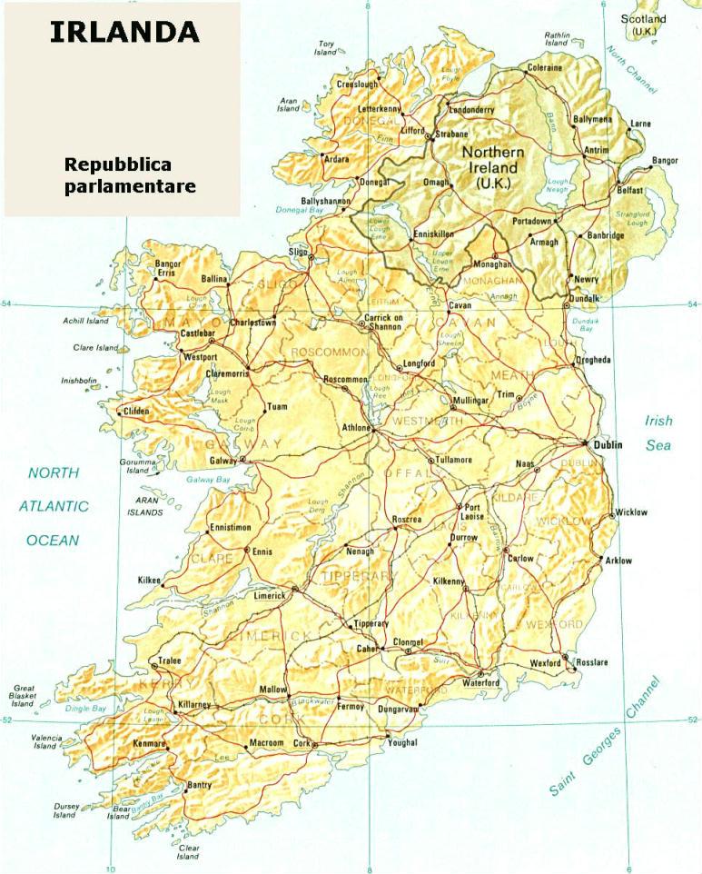 Cartina Geografica Irlanda Del Sud.Cartina Geografica Politica Dell Irlanda